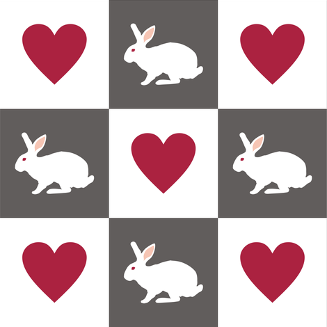White Rabbit Plays Chess with the Queen of Hearts fabric by smuk on Spoonflower - custom fabric