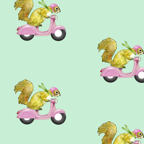 Pink Scooters fabric by golders on Spoonflower - custom fabric