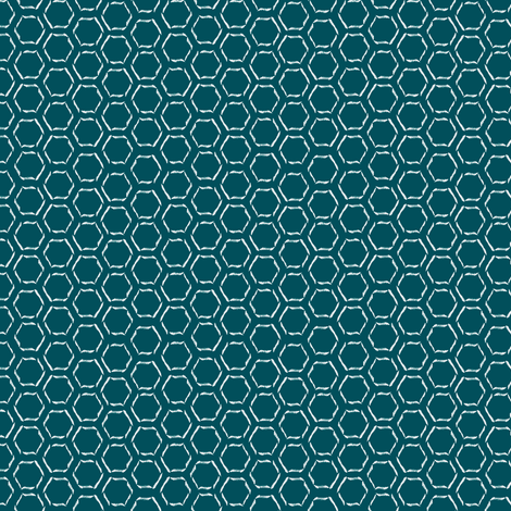 Blue Calligraphy Honeycomb fabric by spikymammal on Spoonflower - custom fabric