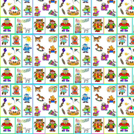 Little Girls and Their Toys fabric by ravynscache on Spoonflower - custom fabric