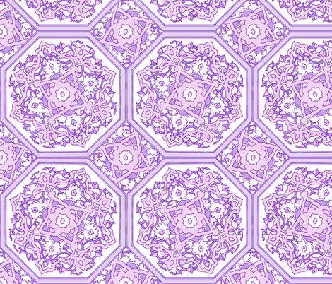 Persian Tile ~ Pink & White & Lavender fabric by peacoquettedesigns on Spoonflower - custom fabric