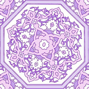 Persian Tile ~ Pink & White & Lavender