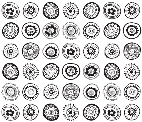 black and white medallions fabric by doris&fred on Spoonflower - custom fabric