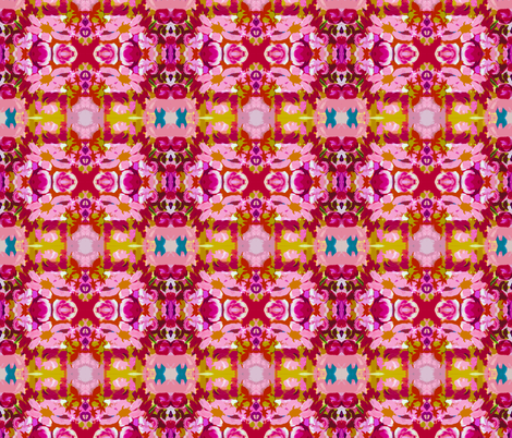 Small Pink and Red Abstracted Floral fabric by theartwerks on Spoonflower - custom fabric