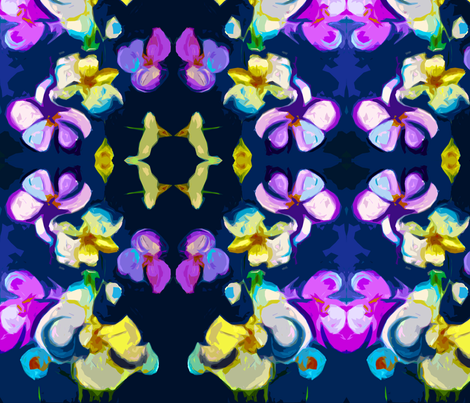 Large Print Abstract Lavender Orchids on Navy Background fabric by theartwerks on Spoonflower - custom fabric
