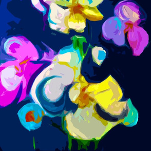 Large Print Abstract Lavender Orchids on Navy Background