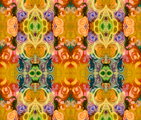 Abstracted Roses in Mustard, Rose, Red, Sky Blue, and Green fabric by theartwerks on Spoonflower - custom fabric