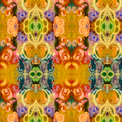 Abstracted Roses in Mustard, Rose, Red, Sky Blue, and Green