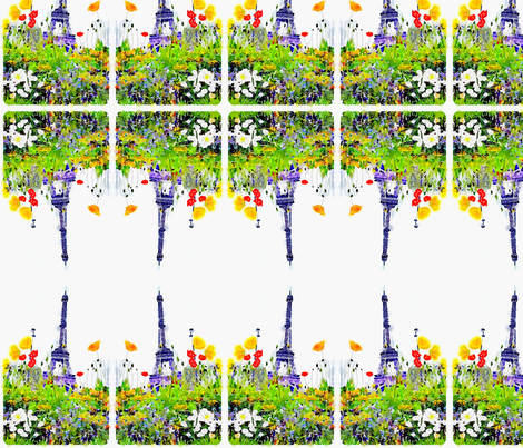 Paris in Springtime Floral Watercolor Print fabric by theartwerks on Spoonflower - custom fabric
