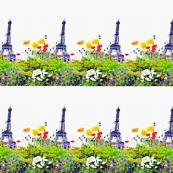 Paris in Springtime Floral Watercolor Print