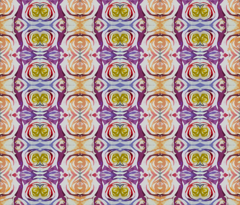 Abstract Floral in Honey,Violet, Red, and Blue fabric by theartwerks on Spoonflower - custom fabric