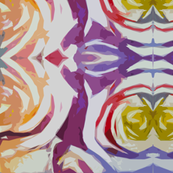 Abstract Floral in Honey,Violet, Red, and Blue