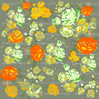 Vintage Floral Print with Yellow Roses on Grey