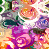 Swirling Abstract Floral in Violet, Peach, Cream and White