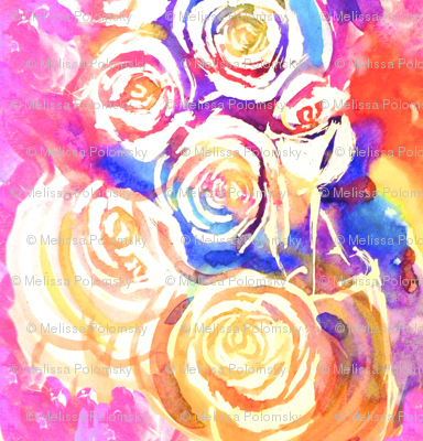 Swirling Abstract Watercolor Floral in Magenta, Red, Orange, and lue
