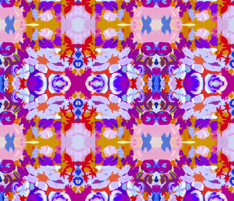 Abstract Floral Print in Violet,Pink, Royal blue, Gold and Red Small Print fabric by theartwerks on Spoonflower - custom fabric