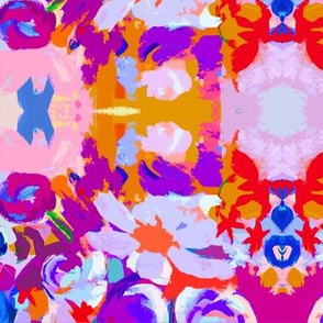 Abstract Floral Print in Violet,Pink, Royal blue, Gold and Red Small Print