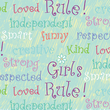 Girls Rule blue fabric by jillbyers on Spoonflower - custom fabric
