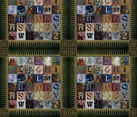 ABCs of the Churchyard ~ w/Frame fabric by spontaneouscombustion on Spoonflower - custom fabric
