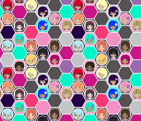 Hexa dollies multi fabric by katarina on Spoonflower - custom fabric