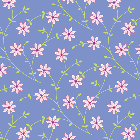 Daisy Vine periwinkle fabric by jillbyers on Spoonflower - custom fabric