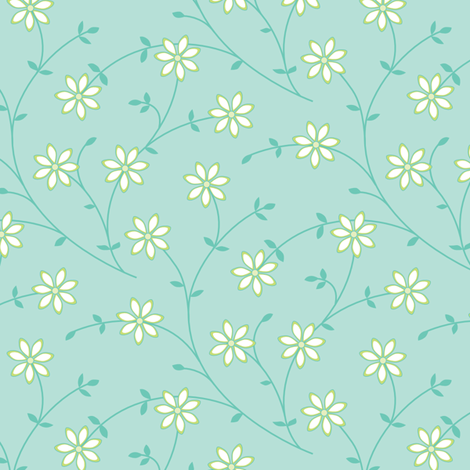 Daisy Vine blue fabric by jillbyers on Spoonflower - custom fabric