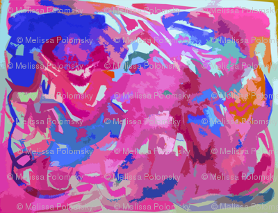 Bright Abstract in Hot pink and Blue