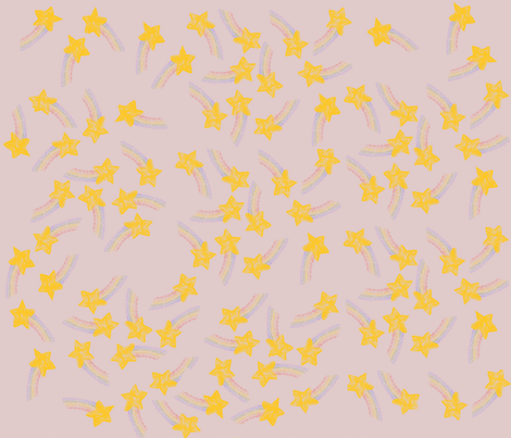 Rainbow Crayon Stars on Pastel Pink fabric by mirromaru on Spoonflower - custom fabric