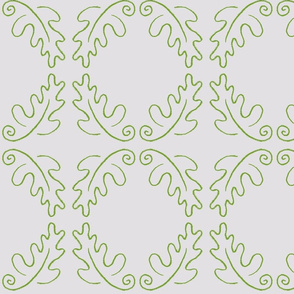 oak leaf oval white/green
