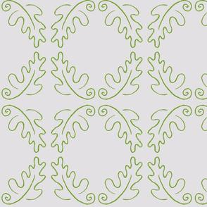 oak leaf oval white/green