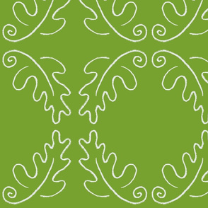 oak leaf oval green/white