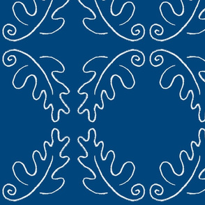 oak leaf oval blue/white