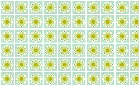 flowertile green fabric by myracle on Spoonflower - custom fabric