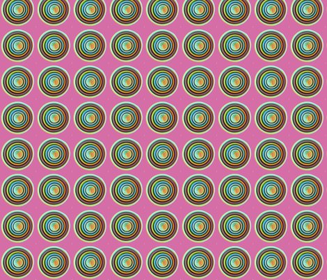 Circles in Mint, Grey, and Orange on Pink Background fabric by theartwerks on Spoonflower - custom fabric