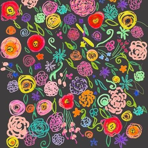 Colorful Floral Doodle on Charcoal Background
