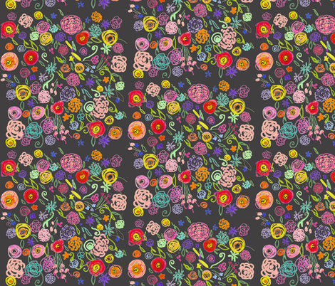 Colorful Floral Doodle on Charcoal Background fabric by theartwerks on Spoonflower - custom fabric
