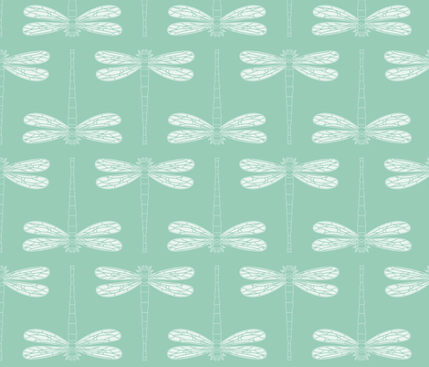 dragonfly in grayed jade fabric by chantae on Spoonflower - custom fabric