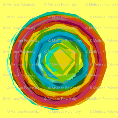 Large Print Rainbow Circles with Summer Yellow Background