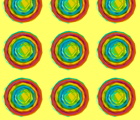 Large Print Rainbow Circles with Summer Yellow Background fabric by theartwerks on Spoonflower - custom fabric