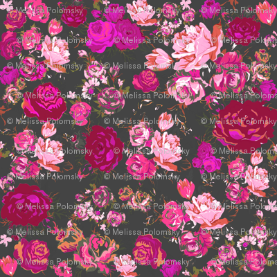 Vintage Floral with Hot Pink and Baby Pink on Grey