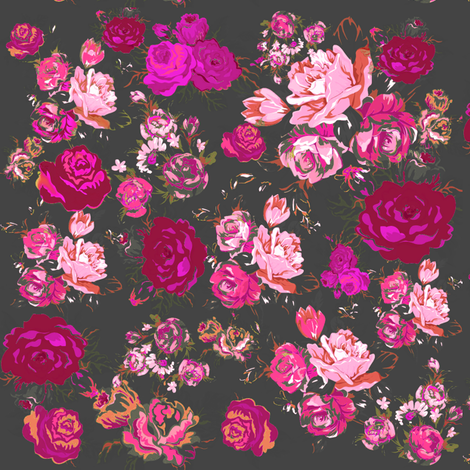 Vintage Floral with Hot Pink and Baby Pink on Grey fabric by theartwerks on Spoonflower - custom fabric