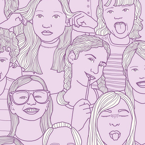 Girls - A hand-drawn repeating pattern (click through to see the whole thing!)
