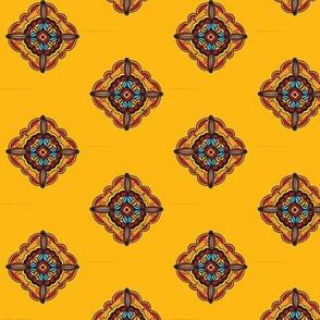 Mustard Diagonal Mandala Tile