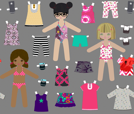 paper dolls grey fabric by katarina on Spoonflower - custom fabric