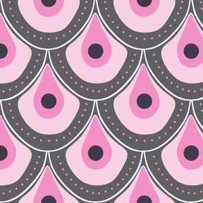 peacock pattern dots pink