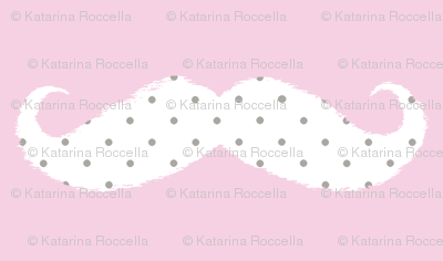 moustache ikat baby pink