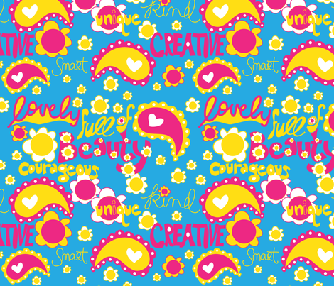 Lovely Girl Power fabric by artsycanvasgirl on Spoonflower - custom fabric