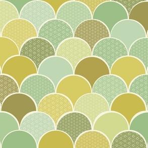Origami Hills - mustard/mint