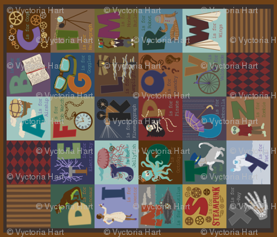 Steampunk Alphabet One Yard Cheater Quilt
