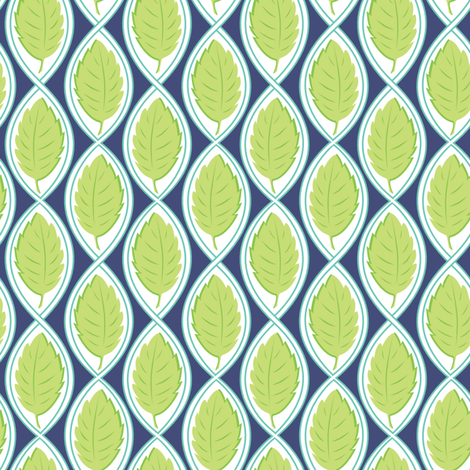 Leaf Spiral navy fabric by jillbyers on Spoonflower - custom fabric